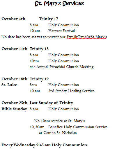 October Services St Marys Chard